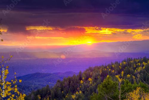 Keuken foto achterwand Bossen Sunset at Santa Fe Ski Basin