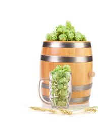 Mug and barrel with hop.