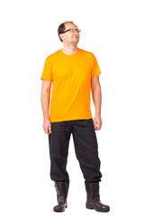 Worker in yellow workwear.