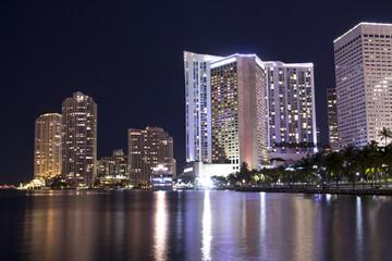 Miami Bayside Marina at night