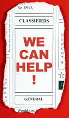 The phrase We Can Help! in the Classified Ads Section