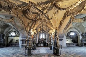 Interior of the Sedlec ossuary (Kostnice), Czech Republic
