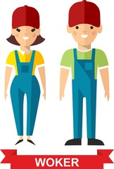 Vector illustration of a vector worker man and  worker woman