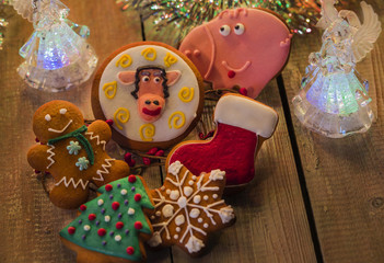 Christmas gingerbread on a wooden surface
