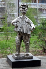 Sculpture of man with an accordion in Birobidzhan, Russia