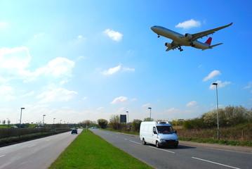 Airplane in flight  near Heathtow Airport, London