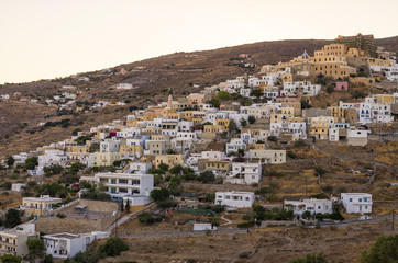 The picturesque town of Syros island, Greece, in the evening