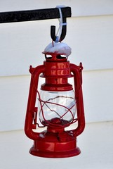 Red lantern with snow