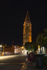 Caorle, Italy Nighttime on Romanesque leaning bell tower
