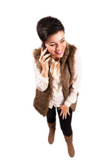 Laughing woman on the phone
