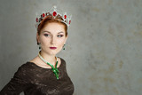 Queen, royalty person. Elegant woman, portrait. Crown poster