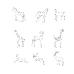 ungulates, horses, deer, goats, gazelles, vector
