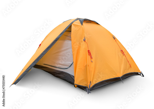 Foto op Canvas Kamperen Yellow tourist tent