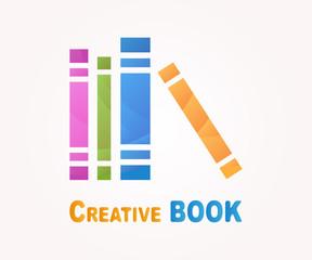 Vector logo design element. Book, read, library