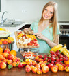 woman making fruit salad
