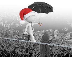 Business man with santa claus hat. On wire above cityscape.