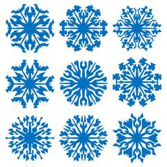Geometric blue snowflakes set