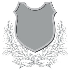 Vector sketch - Coats of arms, shields and laurel wreaths