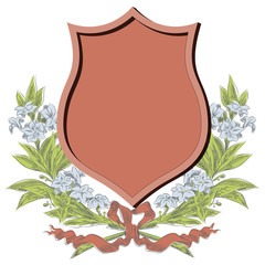 Vector sketch - Coats of arms, shields and flowers wreaths