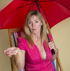 Rain forecast  Woman with miserable expression