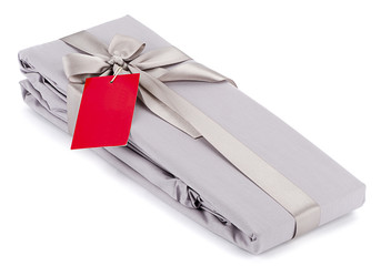 Gift packed cloth wrapped with shiny satin ribbon.