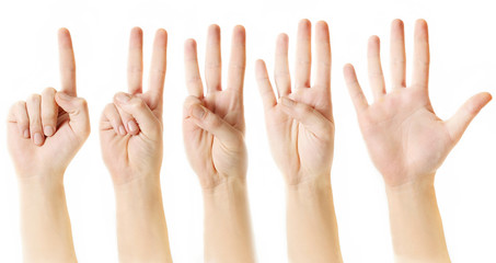 Counting from one to five with fingers
