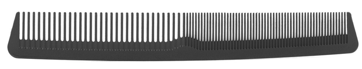 Black comb with different spacing between the teeth isolated.