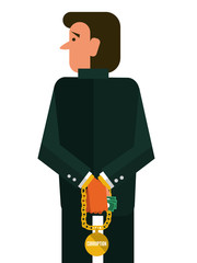 Corruption man. flat design character. vector illustration