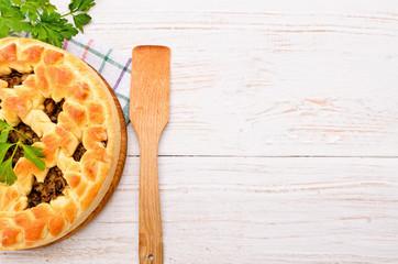 Pie with mushrooms.