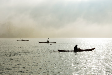 canoe in the fog