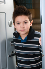boy enters the apartment