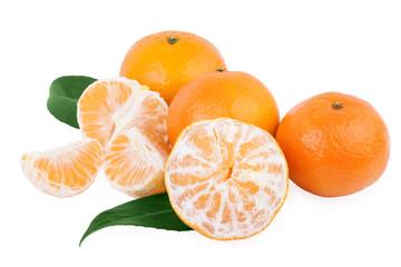 peeled tangerine mandarin fruits isolated on white