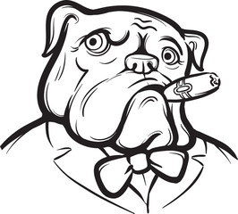 whiteboard drawing - Old English Bulldog with Cigar