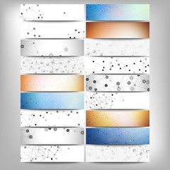 Big banners set, science backgrounds, molecule and communication