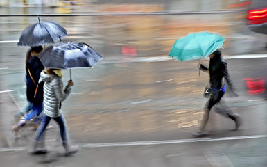 rainy day in the city on motion blur