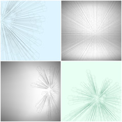 Set of Abstract 3D hexagonal backgrounds, vector template for