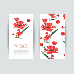 Invitation cards with a red poppy for your design.