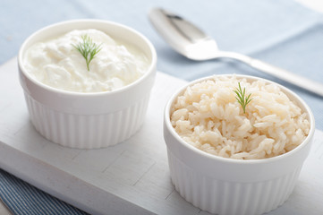 Turkish Pilaf and Yogurt