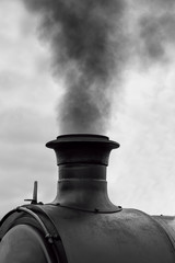Train locomotive chimney smoking