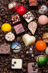 chocolate pralines and coffee beans