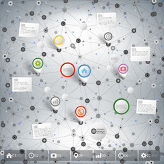 Infographic network with pointer marks for business, template