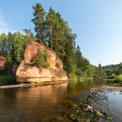 sandstone cliffs in the Gaujas National Park, Latvia