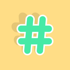 green hashtag icon sticker with shadow