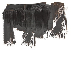 photo black grunge brush strokes oil paint isolated on white