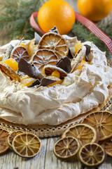 Pavlova dessert for Christmas.