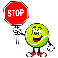 Tennis Ball with Stop Sign