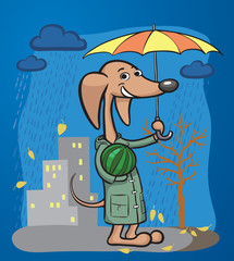 cartoon dog character with umbrella and watermelon