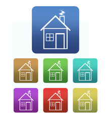Collection of house icons with set of colors