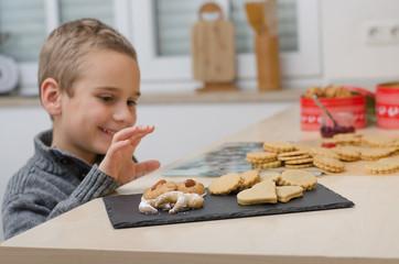 Junge stibitzt Weihnachtskekse