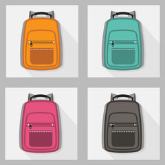 Set of colorful backpack iconswith long shadow